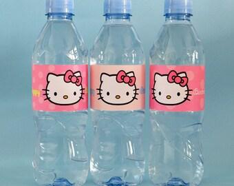 6 Cute Hello Kitty Water Bottle Labels, Kawaii Hello Kitty Label, Pink Water Bottle Labels, Hello Kitty Birthday Labels, Hello Kitty Favor