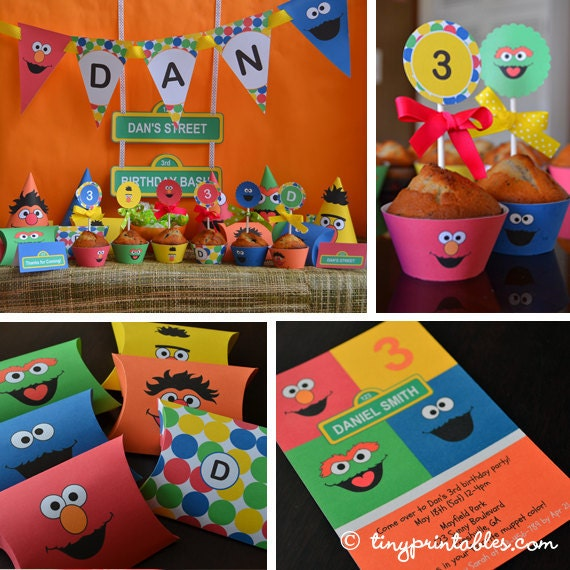 Sesame Street Birthday Printables, Sesame Street Party Supplies, Sesame Steet Favors, Sesame Street Decor, Elmo Birthday Banner, Gift Tags