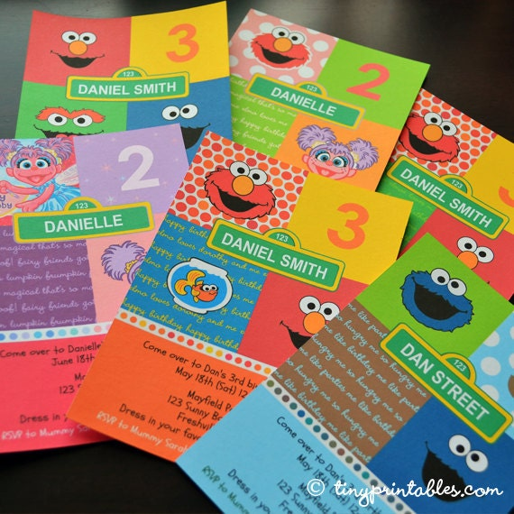 assorted sesame street birthday party invites 5 printable, Party invitations