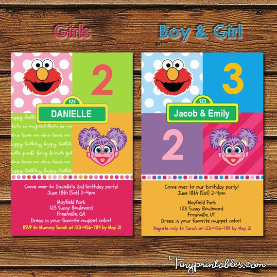 Elmo and Abby Cadabby Birthday Party Invites (4x6 and 5x7) - DIY Printables in PDF