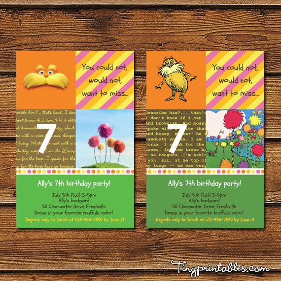 Dr Seuss The Lorax Movie Script: Items Similar To The Lorax Birthday Party Invitations