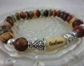 Womens Godless Picasso Jasper bracelet, freethinker, Godless Jewelry, Atheism, free shipping