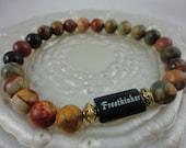 Mens Unisex freethinker Onyx with Picasso Jasper gemstones beads, freethinker, Godless Jewelry, Atheism, free shipping
