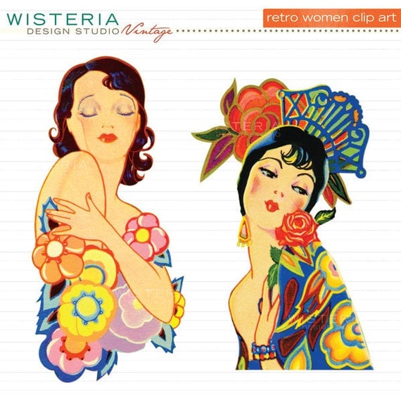 Retro Women - INSTANT DOWNLOAD - Clip Art for Personal & Commercial Use - Digital Illustrations