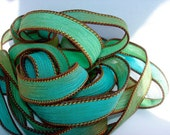 Sand and Sea 42 inch silk ribbon//Silk Wrist Wrap Ribbon// Silk Wrap Yoga Bracelet Ribbons//Silk Ribbons//By Color Kissed Silk LLC