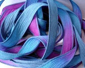 Abyss  hand dyed 42 inch silk ribbons// Silk Wrist Wrap Bracelet Ribbon//Silk wrap yoga bracelet ribbons//By Color Kissed Silk LLC