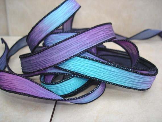 "Buried Treasure 42"" hand dyed silk wrist wrap bracelet ribbon//Yoga wrist wrap bracelet ribbon//Silk wrist wrap ribbon//By Color Kissed Silk"