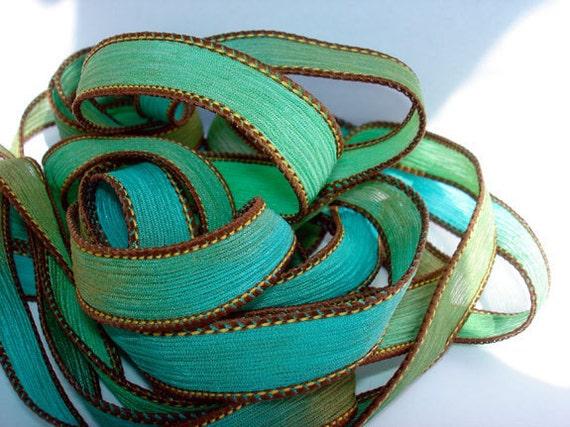 Sand and Sea 42 inch silk ribbon//Silk Wrist Wrap Ribbon// Silk Wrap Yoga Bracelet Ribbons//Silk Ribbons//By Color Kissed Silk LLC