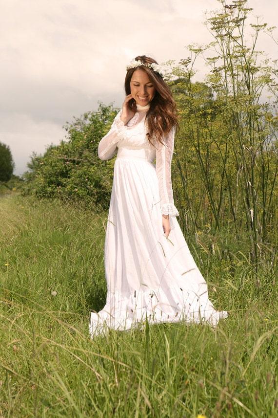 Items similar to vintage wedding dress sophia 1970s on etsy for Best etsy wedding dress shops