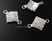 10pcs-20mmX14mm  Cubic Zirconia Square Connector  Silver Plated over Brass(K101)