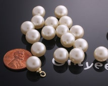 30pcs-8mm Half-drilled Faux Pearl Beads Rounds -White Cream(L145)
