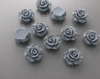 50%off 8pcs-13mm Detaied Leaves Rose Resin Cabochons -8colors Grey (J100-D)