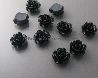 50%off 8pcs-13mm Detaied Leaves Rose Resin Cabochons -8colors Black (J100-F)