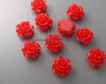 50%off 8pcs-13mm Detaied Leaves Rose Resin Cabochons -8colors Red (J100-G)