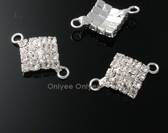 6pcs-20mmX14mm  Cubic Zirconia Square Connector  Silver Plated over Brass(K101)