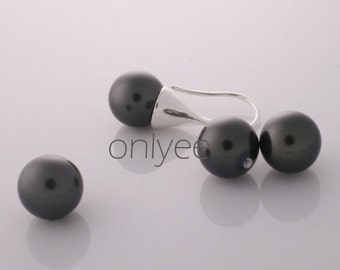 6pcs-10mm Half-drilled Shell Pearl Beads Smooth Rounds 2Colors - dark grey(L113-B)