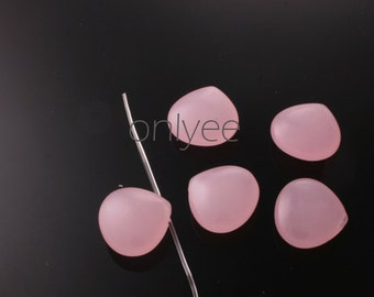 6pcs-14mmX14mm Candy Jade puff Teardrop 6Colors-Baby Pink (L119-B)