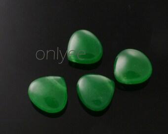 20pcs-11mmX11mm Candy Jade puffy Teardrop 7Colors-Green (L121-B)