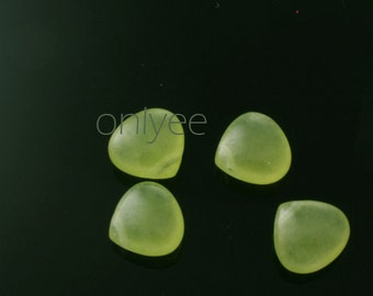 6pcs-11mmX11mm Candy Jade puffy Teardrop 7Colors-Baby Green(L121-G)