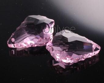 2pcs-28mmX20mm  Crystal Baroque Pendant High Quality Detail 5Colors- Pink (L101-C)