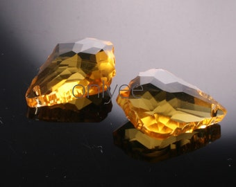 2pcs-28mmX20mm  Crystal Baroque Pendant High Quality Detail 5Colors- Yellow (L101-A)