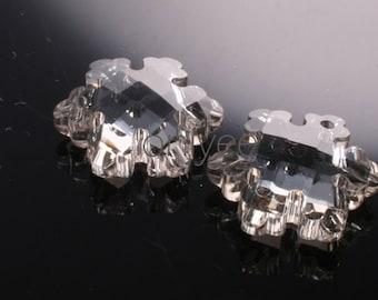2pcs-20mm  Crystal Snow  Pendant High Quality Detail 5Colors- Grey (L106-D)