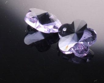 2pcs-12mmX12mm  Crystal Flower Pendant High Quality Detail 4Colors- Purple (L105-D)