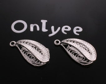 6pcs-24mmX13mm White Gold plated Teardrop filigree shaped Connectors pendants,charms(K145S)