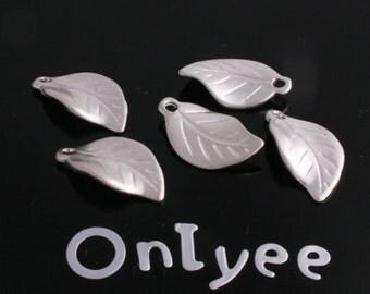 10pcs-17mmX10mm Matte Silver Tarnish resistant Leaves pendant, connector, charm(K127S)