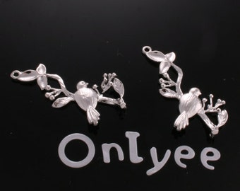 50%off-10pcs-28mmX19mm White Gold plated  Bird and berry branch Charms/ pendants/Connectors(K157S)