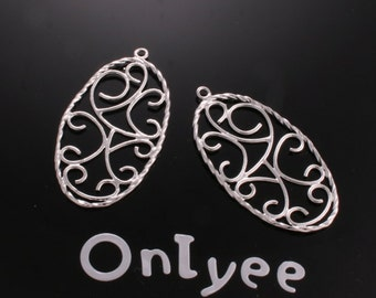10pcs-37mmX20mm White Gold plated Oval Filigree Charms/ pendants/Connectors(K156S)