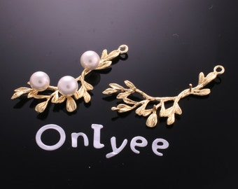 6pcs-41mmX16mm 14K Gold plated Branch Leaves With nail Pendants/ Charms/ Connectors(K175G)