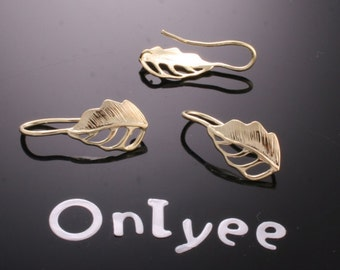 8pcs-15mmX9mm 14K Gold plated Leaf Earrings back one loop  Connectors(K184G)