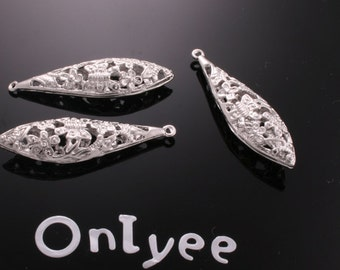 8pcs-44mmX15mm White Gold plated Romantic Filigree Long- Shaped Charms/ pendants(K185S)