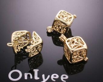 2pcs-13mmX25mm 14K Gold plated Romantic Filigree Open Cube Tear pendants(K187G)