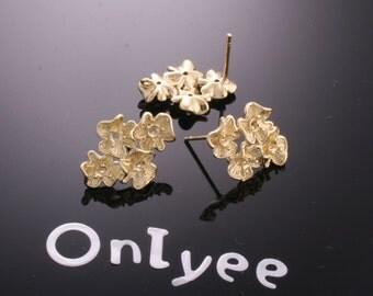 8pcs-14mmX19mm 14K Gold plated Brass 4Flower Earrings Connectors(K194G)