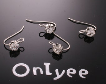 8pcs-11mmX18mm White Gold plated Brass Zircon Earrings With Loop Connectors(K195S)