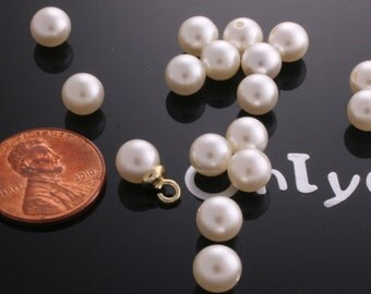 40pcs-7mm Half-drilled Faux Pearl Beads Rounds -White Cream(L142)