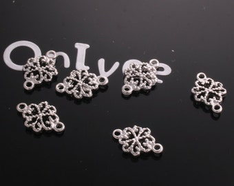 16pcs-12mmX7mm White Gold plated  Romantic Small connector, pendants,charm(K209S)