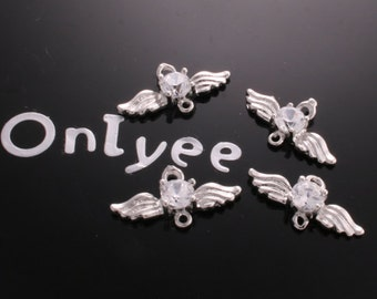 6pcs-20mmX11mm  Zircon Wing Connenctor  Silver Plated over Brass(K236)