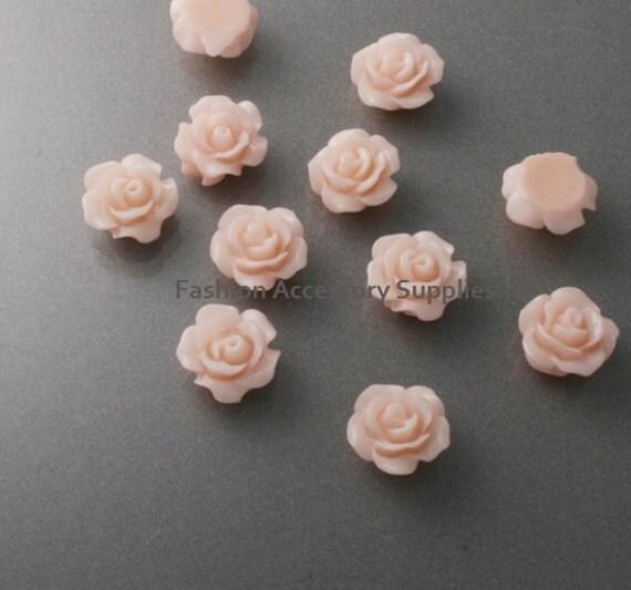 50%off 16pcs-10mm Detaied Leaves Rose Resin Cabochons -10colors Light Pink(J101-C)