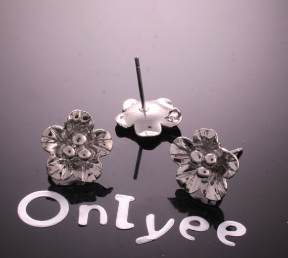 8pcs-13mmX13mm White Gold plated Flower Earrings Connectors/ Charms/ pendants(K180S)