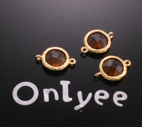 8pcs-14mmX9mm 14K Gold plated Faceted Round Framed Bright resin Setting Connectors-Brown(M105G-BR)