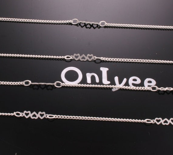 3 Ft -Silver Matte Finished Flat Cable Chain(1mm) with 10mm 3Hearts Tarnish Resistant Silver Plated Brass(C547)