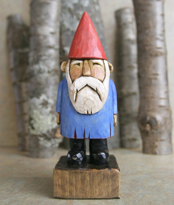Hand Carved Blue and Red Gnome