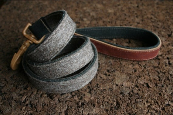 Dog Leash - Dark Brown Heather Felt - Repurposed Leather Handle