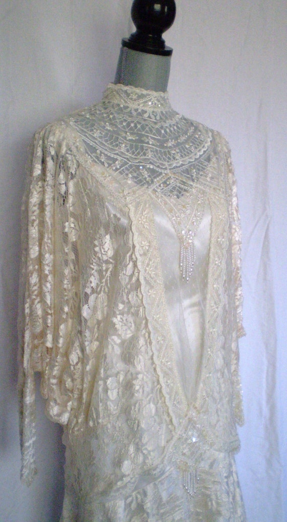 Victorian vintage ivory lace wedding gown by vintageardour for Vintage victorian wedding dresses
