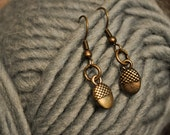 SALE  Brass Acorn Earrings