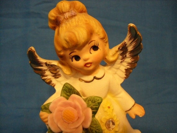 Vintage Lefton October Birthday Angel Figurine with Pink Flower Bouquet and Purple Sash