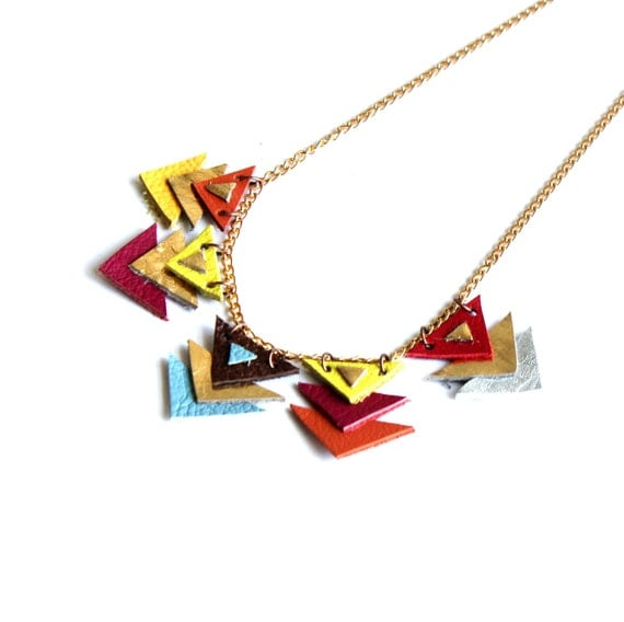 Rainbow Arrows bunting necklace // salvaged leather